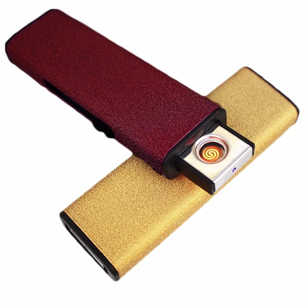 Creativo USB de Carga USB Encendedor A Prueba de Viento de Doble Arco Personalid