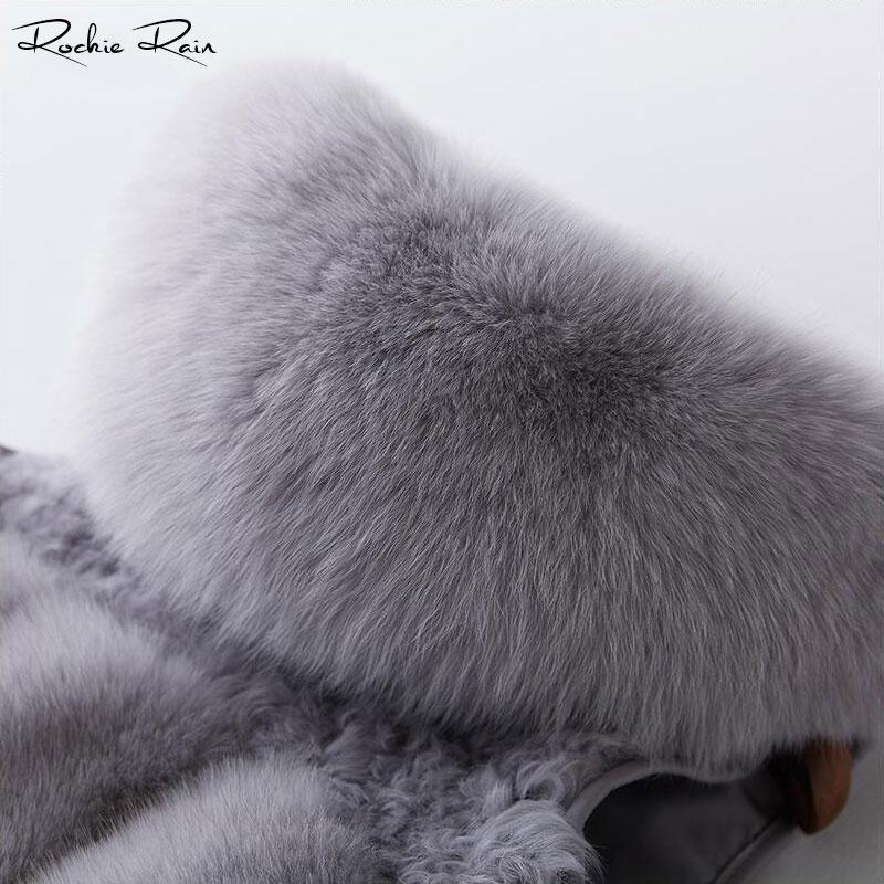 Mouton Gilet De Capuchon Nouvelle Femelle Avec Fourrure Hiver Manteau Réel Grey Renard Grey Court À dark Femmes w0zWHt7q11