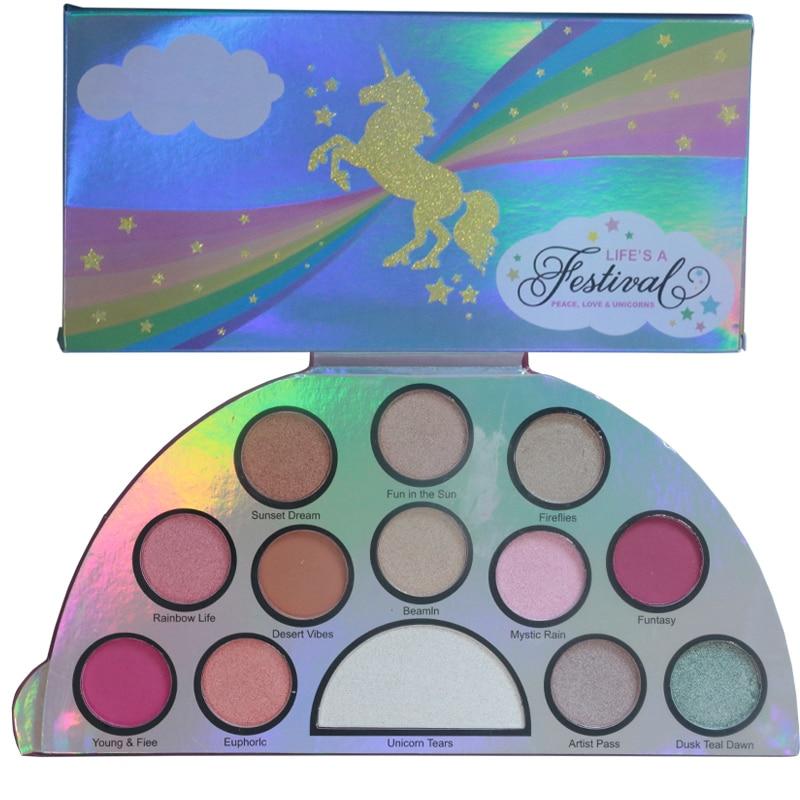 13 Colors Life's A Festival Unicorn Eyeshadow Pallete Matte Shimmer Pigmented Powder Eye Shadow Palette Glitter Makeup Maquiagem все цены