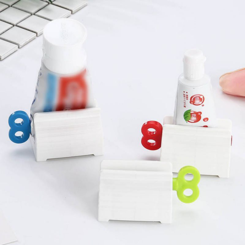 Key Designed Toothpaste Squeezer Rolling Tube Squeezer with Holder Stand for Toothpaste/Facial Cleanser