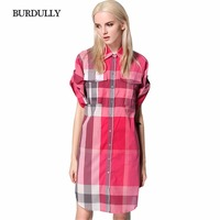 BURDULLY 2017 Summer England Red Black Plaid Dress Women Casual Loose Classic Cotton Short Sleeve Patchwork