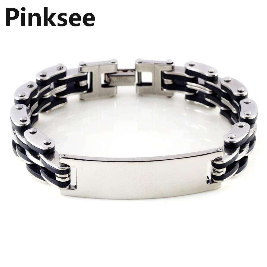 e1c137a0b Nueva plata enlace Cadena de goma de acero inoxidable de los hombres pulsera  de muñeca banda 8