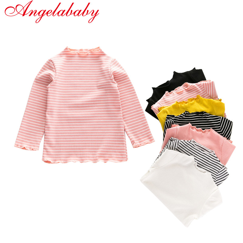 2018 new Autumn Winter Long Sleeves Girls Tops Bottom Shirt Candy Color Wild T-shirt Striped Solid Cotton Kids Comfortable tees grey crossed front design cut out long sleeves t shirt