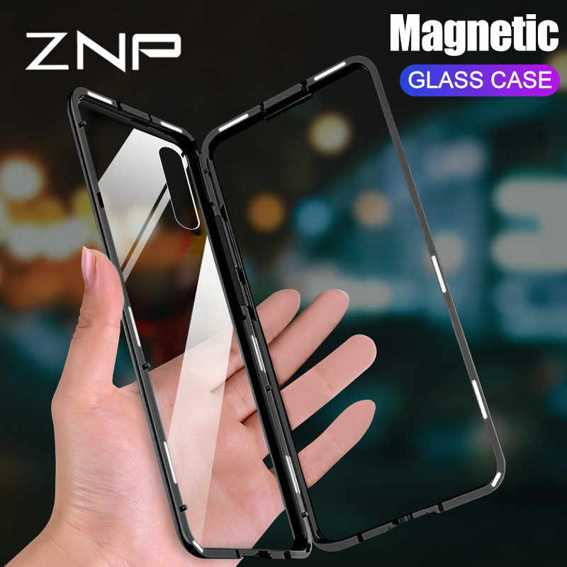 ZNP Magnetic Metal Case For Huawei P30 Pro P20 Lite P10 Plus Tempered Glass Back Magnet Cover For Huawei Mate 20 10 Pro Lite 20X