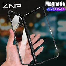 ZNP Magnetic Metal Case For Huawei P30 Pro P20 Lite P10 Plus Tempered Glass Back Magnet Cover For Huawei Mate 20 10 Pro Lite 20X(China)