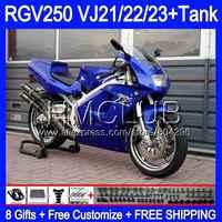 +Tank For SUZUKI VJ22 RGV250 88 94 95 96 97 98 39HM.4 RGV-250 VJ23 Glossy blue RGV 250 1988 1994 1995 1996 1997 1998 Fairing