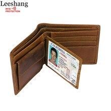 Leeshang 100% натуральная кожа кошелек мужские RFID Блокировка винтажные маленькие кошельки Есть монета карман кредитная карточка защиты мужской кошелек