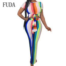 FUDA New Summer Fashion Tight-fitting Cute Multicolor Women Rompers Elegant O Neck Short Sleeve Tie-up Bodycon Bandage Jumpsuits