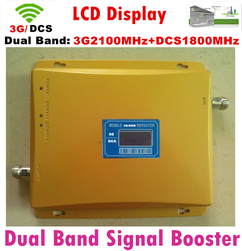 Double Bande Cellulaire Signal Booster 4G LTE 1800 mhz Répéteur LCD affichage 65dB 2G 3G 4G Amplificateur DCS 1800 mhz 3G WCDMA 2100 mhz