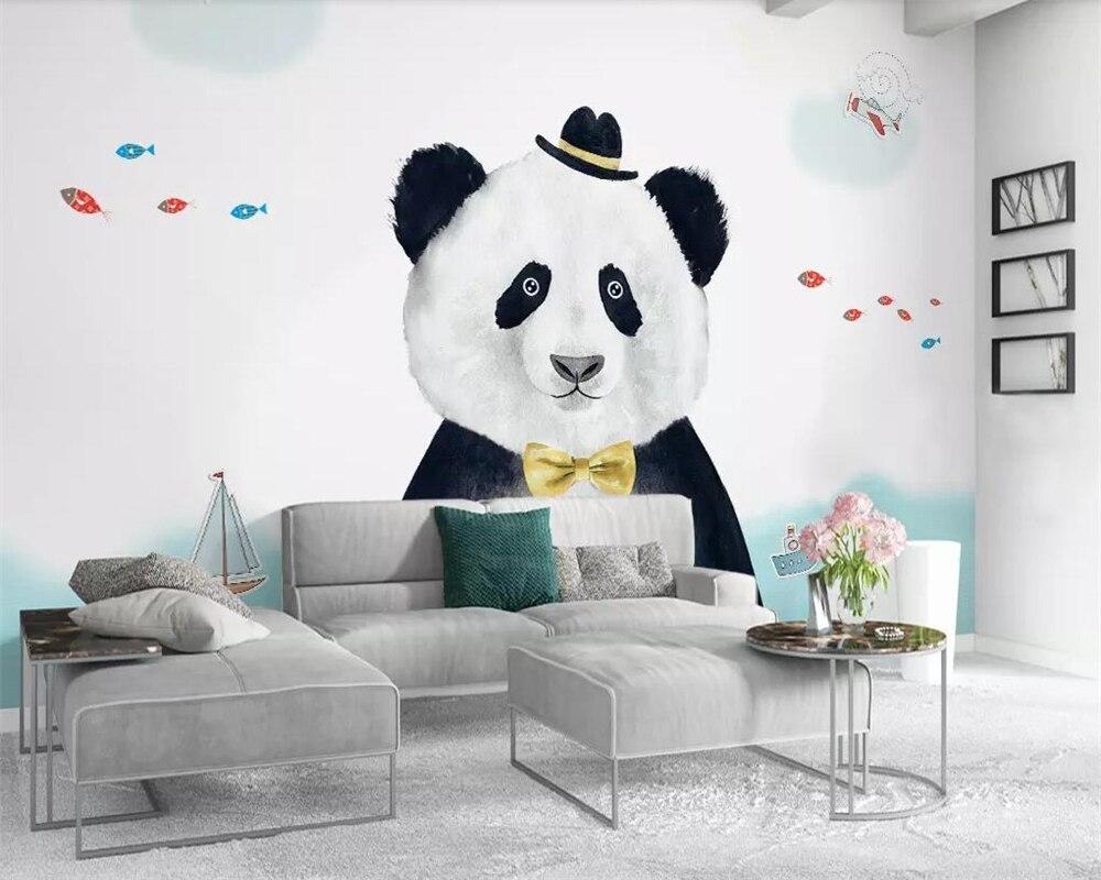 Beibehang Aangepaste Behang Eenvoudige Panda Kinderen Kamer Tv Achtergrond Muur Woondecoratie Woonkamer Slaapkamer Muurschilderingen 3d Behang Fancy Colors