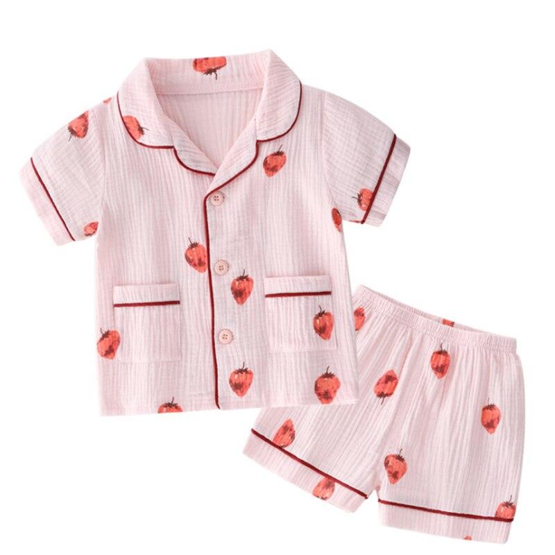 BINIDUCKLING 2019 Summer Girls Boys Kids Pajamas Clothes Set Short Sleeves T-Shirt+Shorts For Baby Cotton Children's Pajamas