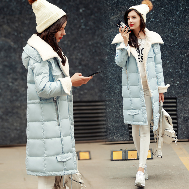 Lamb Hair Collar Winter Coat Medium Long Coat Thick New Style Jacket Long Thick Cotton Winter Parka Women Ukraine Quilted Coats advertising inflatables stars for stage