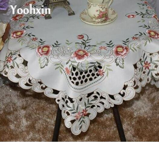 Luxury Christmas Kitchen Towels: Luxury Satin Embroidery Dining Table Cloth Towel Cover
