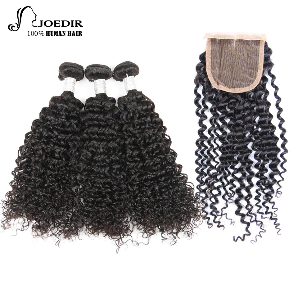Joedir Human Hair Bundles With Closure Malaysian Kinky Curly 3 Bundles With Closure Non Remy Hair Free Part Free Shipping
