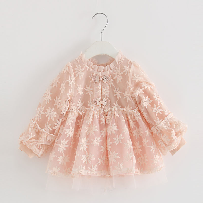 Baby Girls Infant Dress&clothing Autumn Chinese Style Embroidery Lantern Sleeve Kids Party Birthday Outfits Christening 3ColorDresses   -