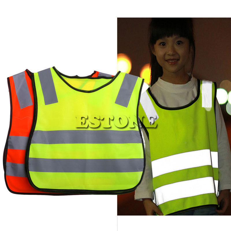 Safety Hi Vis Children Waistcoat Vest Grey Reflective Strips Traffic Clothes