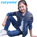 Cutyome Kids Denim Clothes Set Brand Designers Bomber Denim Jacket Coat+Jeans Trousers Children Outfits Clothing 14Y Teens Suit