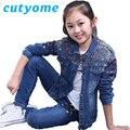 Cutyome Niños Bombardero Chaqueta de Mezclilla Denim Ropa de Diseñadores de la Marca Coat + Jeans Pantalones Niños Trajes Ropa 14Y Adolescentes Traje