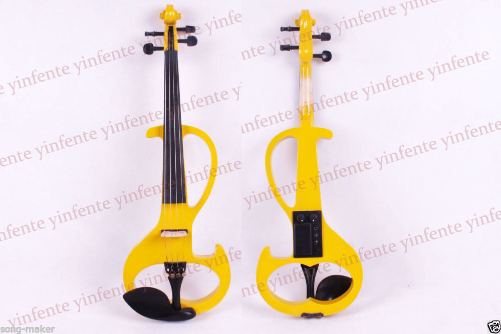New 4/4 Electric Violin Powerful Sound Solid wood Yellow Ebony pegs Yinfente #6 4 4 high quality 5 string electric violin yellow 2 pickup violin