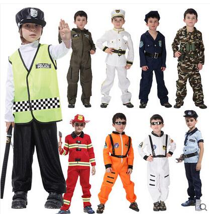 2017 Hot Halloween Cosplay Costumes Seaman Clothing Kids Pilot Clothes Police Girl Dress Childrens Uniform Samurai In Boys From Novelty