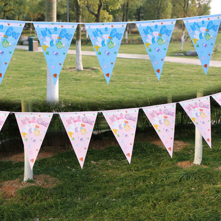 12 Flags 22cm Birthday Bunting Banners Pennant Birthday party penner Baby Shower Wedding Garland Flags Party Decoration Supplies in Banners Streamers Confetti from Home Garden