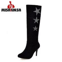 Mulheres Pontas Do Dedo Do Pé Do Joelho Botas Mulher Sexy de Camurça de Couro Sapatos de Salto Alto Nova Estrela Saltos Botas Feminina Inverno da Pele Tamanho 32-50