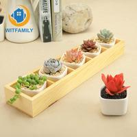 5 Flower Planters with 1 Wooden Tray Box Home Decor Set of Modern Decorative Small White Square Ceramic Succulent Plant Pot
