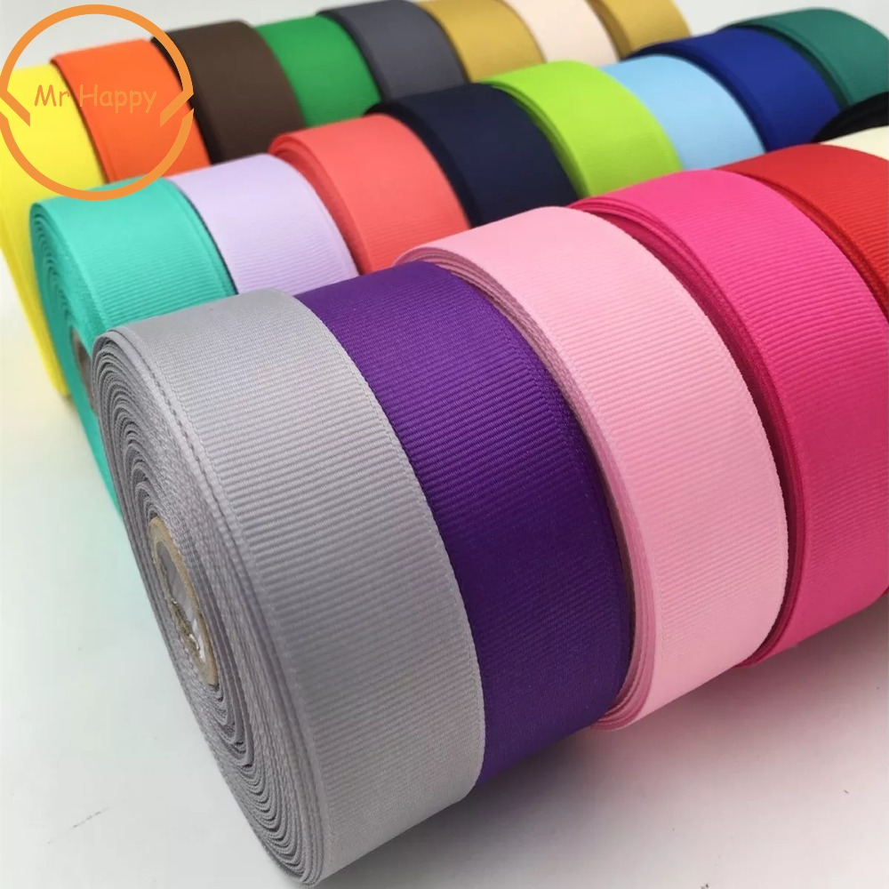 Polyester Plain <font><b>Grosgrain</b></font> Bänder 6/10/15/25/38mm 5 yards/lot Satin Band für geschenk wrap DIY Haar Bogen Hochzeit Party Dekoration image