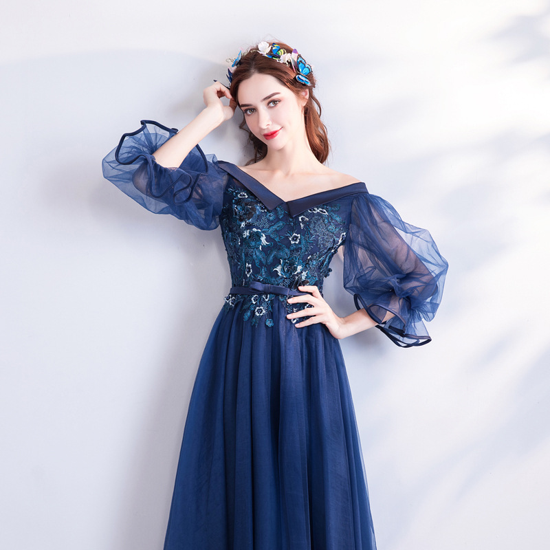 2019 New Young Mother Dark Blue Long V-neck Lantern Sleeves Flower Lace Sweet Dress2019 New Young Mother Dark Blue Long V-neck Lantern Sleeves Flower Lace Sweet Dress