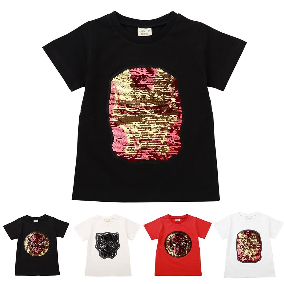 3f538def09d9 Superheroes Boys T Shirt Girls Kids Magic Sequin Reversible T-Shirts Iron  Man Spaider Black Panther Children Tops Cotton Clothes