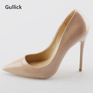 Gullick/Дешевые пикантные кожаные женские модные туфли-лодочки на высоком тонком каблуке; обувь с острым носком для вечеринки; большие размеры;...