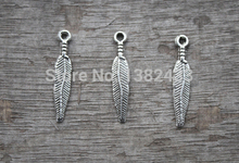 40pcs--Feather Charms ,Antique Tibetan Silver Tone feather charm pendants,Dream Catcher drop,bird feather drop, 25x4mm(China)