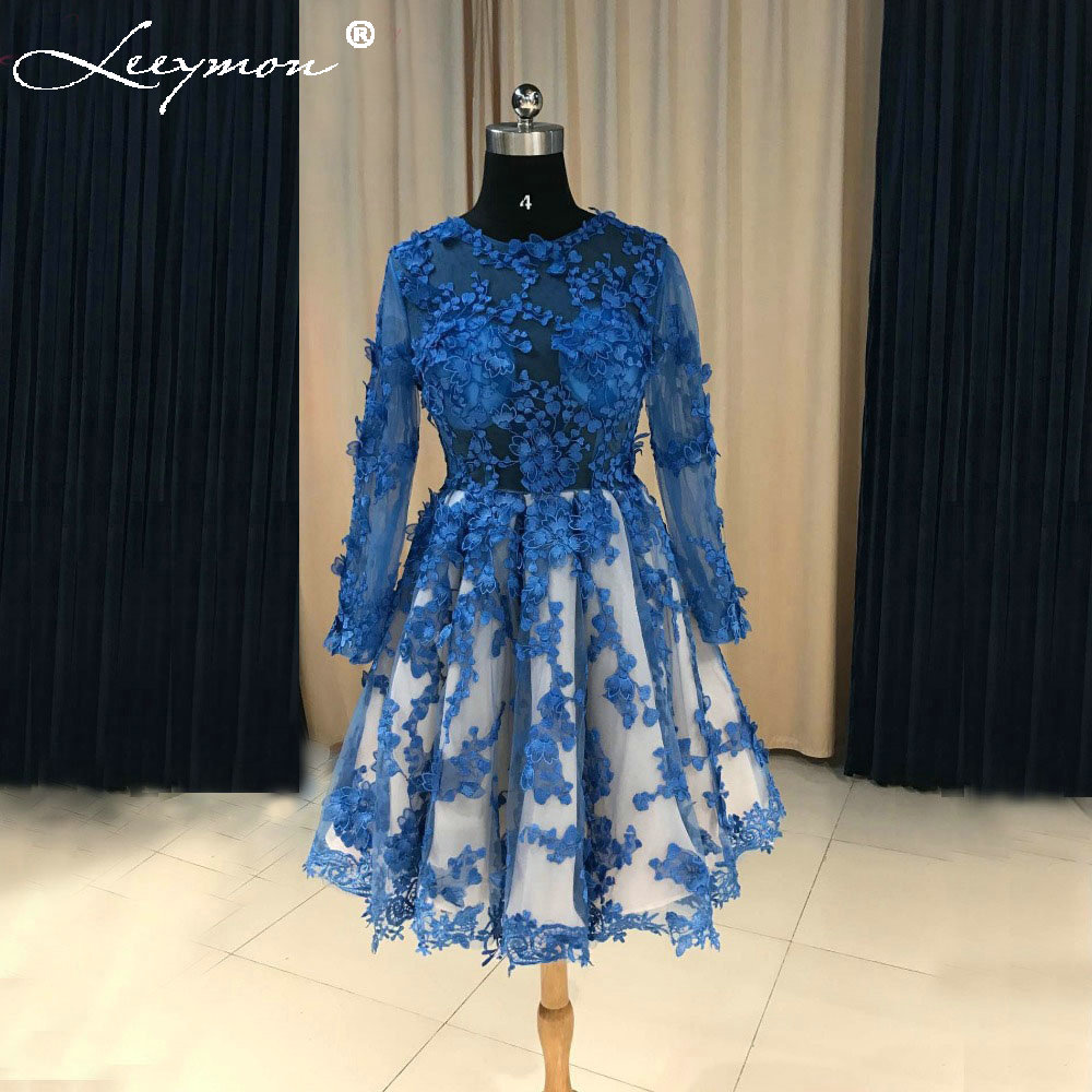2019 New Hot Sale Sexy See Through Lace   Cocktail     Dress   Short Prom   Dress   Blue   Dress   Homecoming   Dresses   vestidos coctel