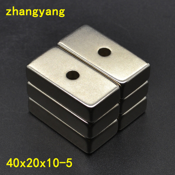 1PCS block 40x20x10 strong powerful neodymium magnets rare earth permanent fasterners with countersunk hole 40*20*10-10 image