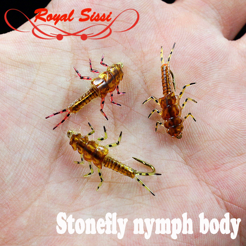 Hot 10pcs Pack Artificial Stonefly Nymph Rubber Body Fly Fishing Wet Fly Nymph Flies Fly Tying Stonefly Insect Model With Legs