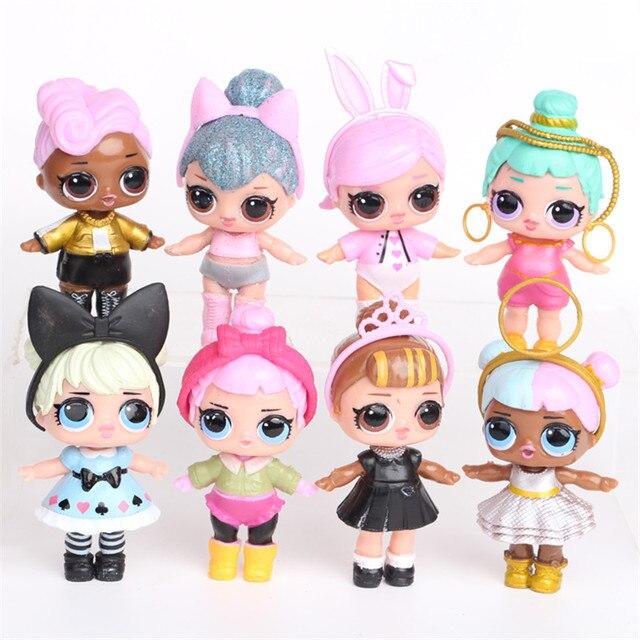 8pcs/set cute girl action figure LOL SURPRISE model toys key buckle Micro-landscape dolls LIL SISTERS decoration