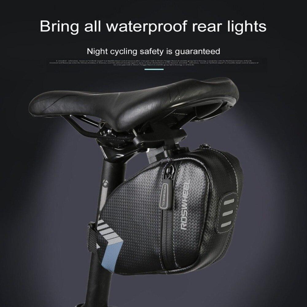 Roswheel Sepeda Tas Sadel Bersepeda Tahan Air Di Bawah Kursi Waterproof With Backlight Lampu Rem Malam Belakang Tail Pouch Penyimpanan Gunung Jalan