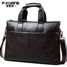 Brand men briefcase, genuine leather business bag, 14″ leather laptop briefcase, shoulder bags men's messenger travel bags