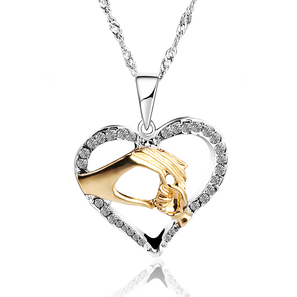 Mother Baby Heart Pendant Mom Daughter Son Child Family