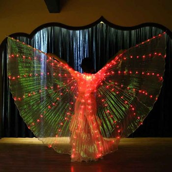 Egypt Belly Dance Isis Wings With Stick For Adult India Dancer Bellydance Costume Accessory Performance Stage Costume 360 Degree