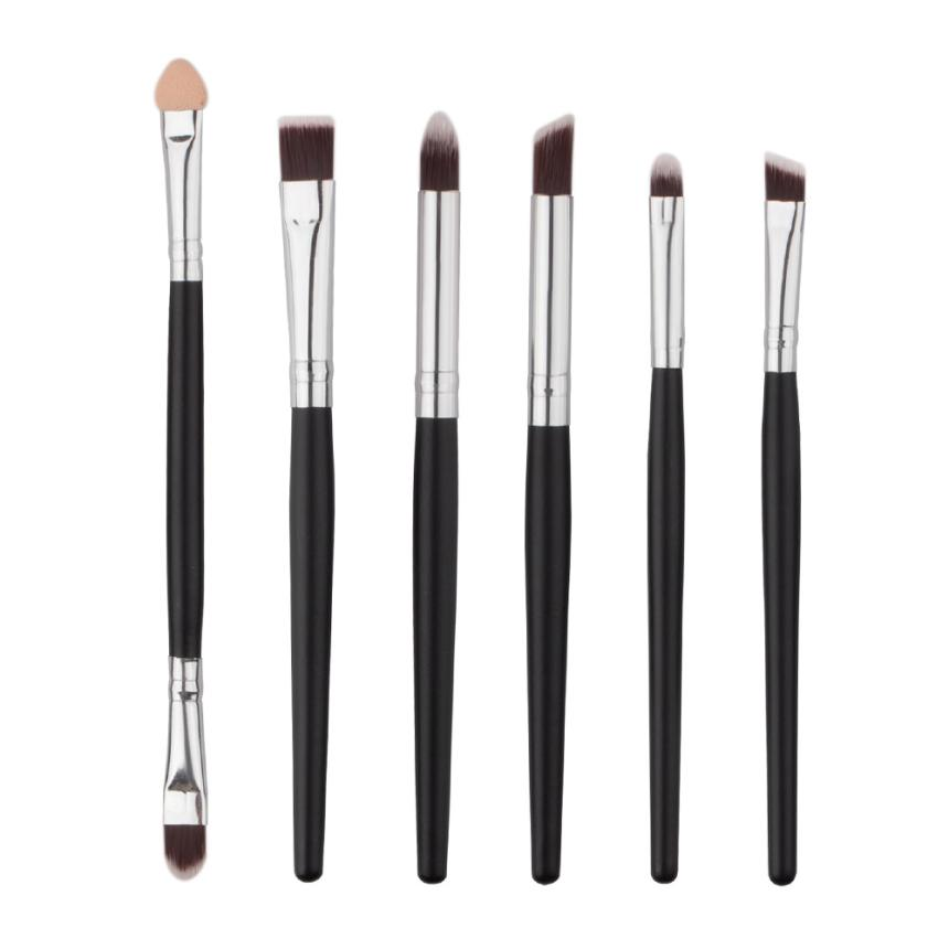 6Pcs/set Black Pro Makeup Brushes Set Make up Cosmetics Brush Eyeliner Eye shadow Eyebrow Lip Brush Cosmetic Tool 3jan11 pro 20pcs set make up styling tools cosmetic eyeliner eyebrow lipsticks shadow wood pincel makeup blushes kit cosmetics pinceaux