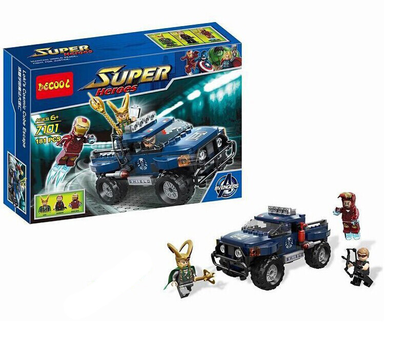 DECOOL 7101 Super Heroes Loki Hawkeye Iron Man Toy Truck Loki's Cosmic Cube Escape Building Blocks Toys For Children Gift 181PCS