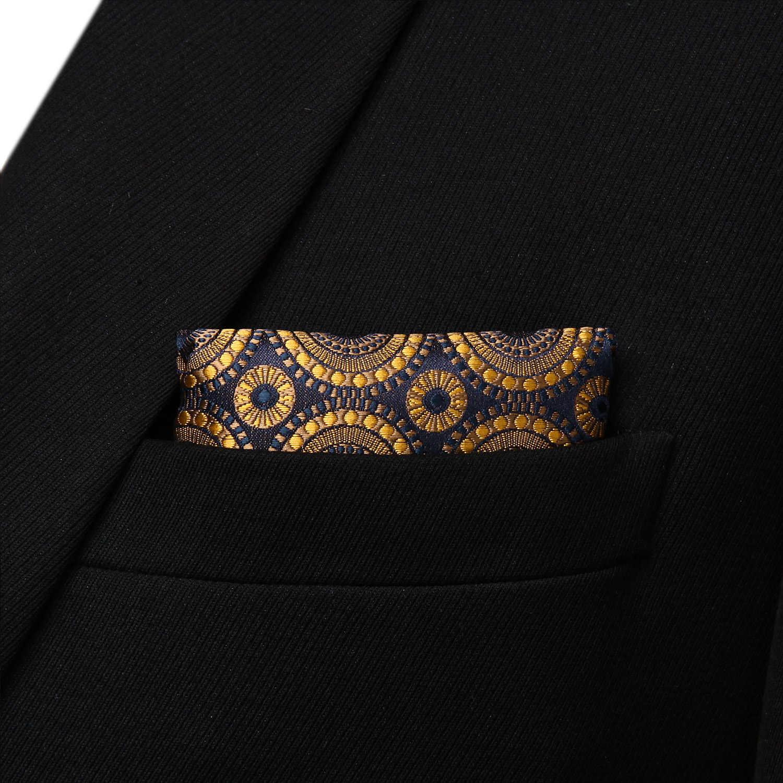 113e2d8e2b18 ... Party Pocket Square Classic Wedding BF804DS Gold Navy Blue Floral  Bowtie Men Silk Self Bow Tie ...