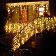 Подключаемый 4 м гирлянда занавеска сосулька струнный светильник s Сказочный светильник s рождественские лампы Сосулька светильник сад Свадебная вечеринка украшение
