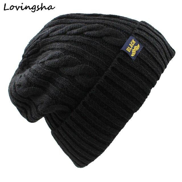 45c0002ac4c LOVINGSHA Faux Fur Knitted Hat Men Beanies Warm Baggy Bonnet Hats For Men  Women Beanie Men s Knit Skullies Winter Hat Caps HT046