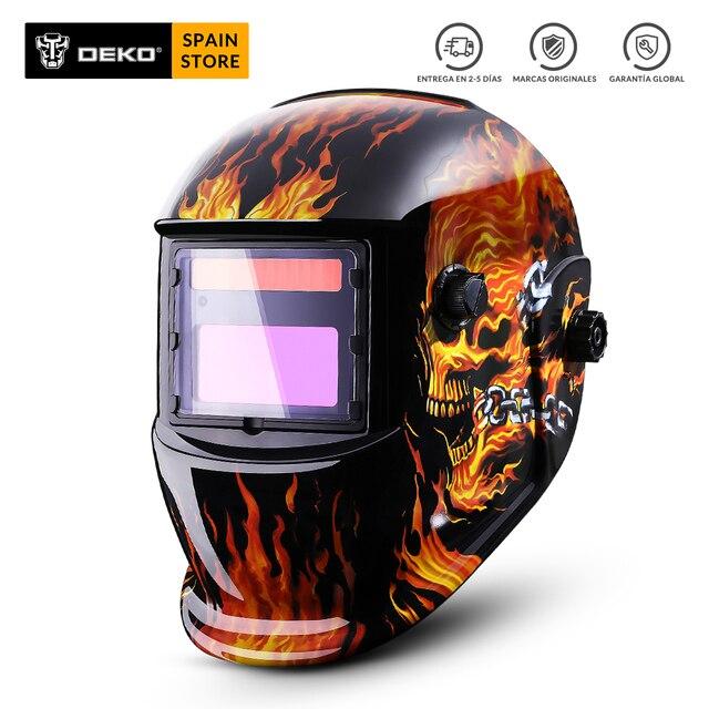 DEKO naranja fuego Solar Auto oscurecimiento MIG MMA Máscara de Soldadura eléctrica casco lente de soldadura para máquina de soldadura o cortador de Plasma