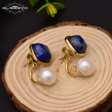 GLSEEVO Natural Square Lapis Lazuli Fresh Water Pearl Drop Earrings For Women 925 Silver Ear Pin Handmade Fine Jewelry GE0327