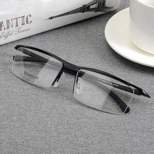 Image 3 - Browline Half Rim Titanium Metal Glasses Frame for Men Eyeglasses Fashion Cool Optical Eyewear Man Spectacles Prescription Frame