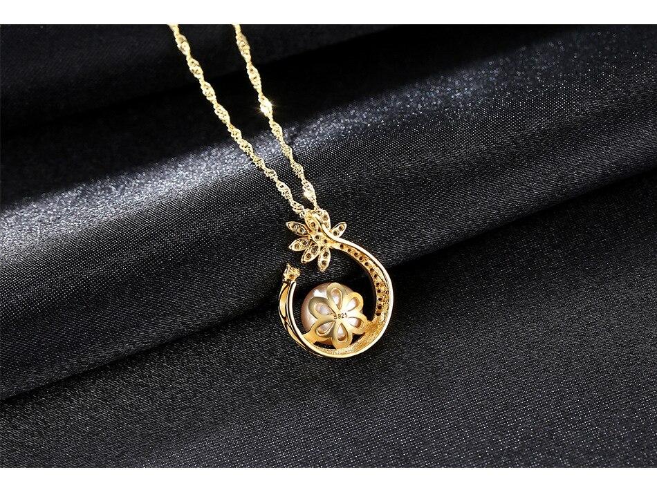 Bijoux fins S925 Sterling collier en argent perle d'eau douce naturelle Pendentif LB30