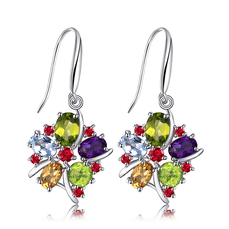 JewelryPalace Flower Multicolor 6.2ct Natural Amethyst Garnet Peridot Citrine Blue Topaz Dangle Earrings 925 Sterling Silver diva 5 0ct natural swiss blue topaz sterling silver feather dangle earrings